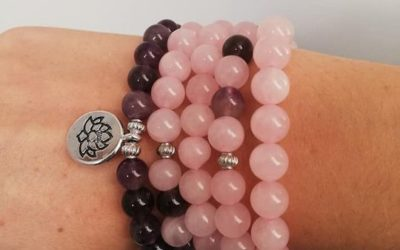 Mala de 108 perles en quartz rose et améthyste avec
